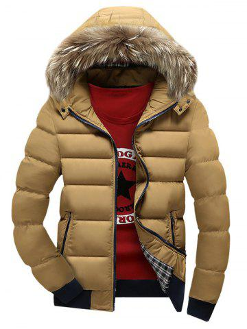 Hot Zip Up Quilted Jacket with Fur Trim Hood