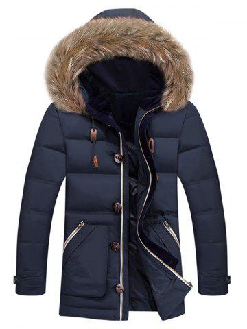 Store Zipper Pocket Quilted Coat with Fur Trim Hood