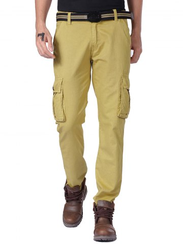 Straight Leg Cargo Pants with Button Pockets