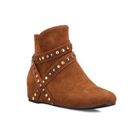 Outfits Metal Hidden Wedge Zip Ankle Boots BROWN 39
