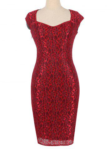 Online Flower Lace Fitted Sheath Formal Dress RED M