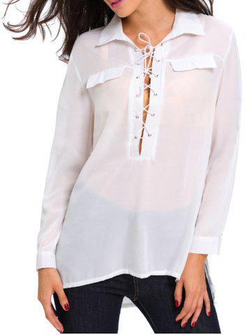 Fancy Long Sleeve Lace Up High Low Shirt WHITE L