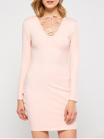Affordable Plunging Neck Lace Up Bodycon Club Dress PINK XL