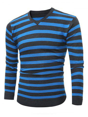 Flat Kintted V Neck Striped Sweater - Azure - 2xl