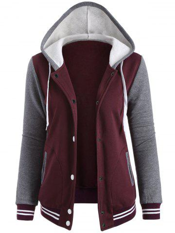 Sale Contrast Sleeve Fleece Baseball Hoodie Jacket