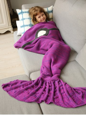 Winter Thicken Knitted Wrap Sofa Mermaid Blanket - Violet Rose - One Size
