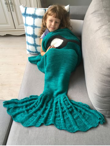 Cheap Winter Thicken Knitted Wrap Sofa Mermaid Blanket - GREEN  Mobile
