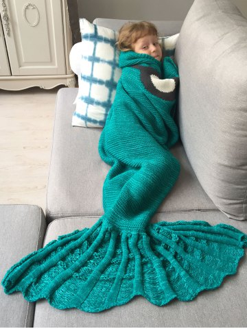 Fashion Winter Thicken Knitted Wrap Sofa Mermaid Blanket - GREEN  Mobile