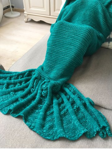 Chic Winter Thicken Knitted Wrap Sofa Mermaid Blanket - GREEN  Mobile