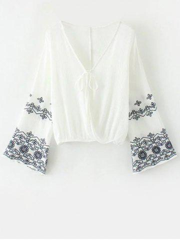 Chic Flare Sleeve Embroidered Vintage Blouse WHITE L