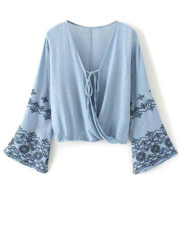 Cheap Flare Sleeve Embroidered Vintage Blouse BLUE S