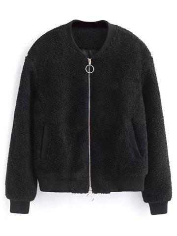 Chic Zip-Up Fitting Lamb Wool Jacket