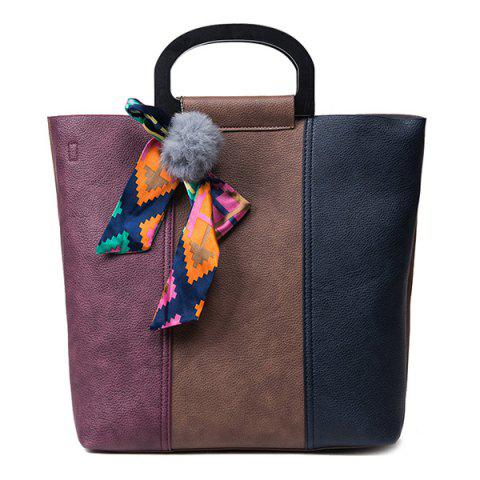 Outfits Ribbon Pompon Color Block Handbag