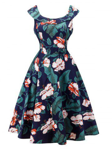 Latest Retro Style Full Flower Print Dress