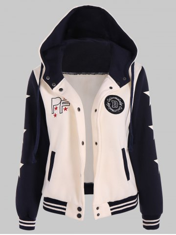 Shop Two Tone Hooded Patched Casual Jacket