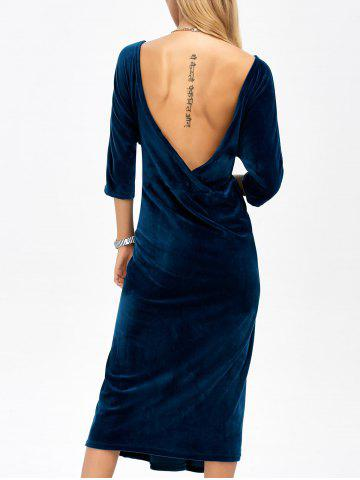 Affordable Backless Round Neck Velvet Party Tea Length Dress DEEP BLUE ONE SIZE