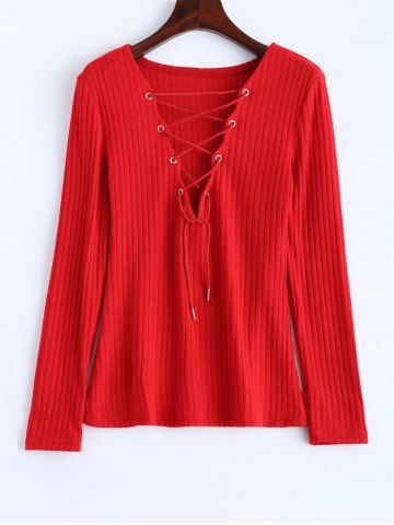 Chic Lace Up Ribbed Jumper RED XL