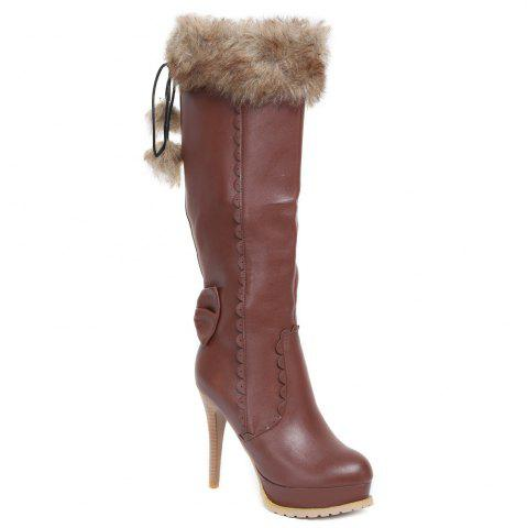 Fashion High Heel Scalloped Pompon Mid Calf Boots BROWN 39