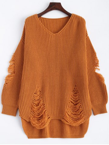 Latest Pullover Ripped V Neck Sweater EARTHY XL