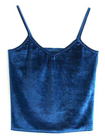 Hot Velvet Cami Cropped Tank Top PEACOCK BLUE ONE SIZE