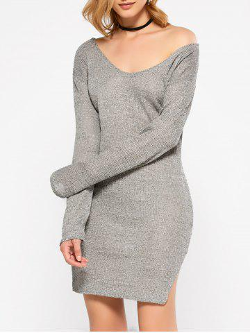 Affordable Long Sleeve Slit Causal Jersey Knit Dress GRAY M