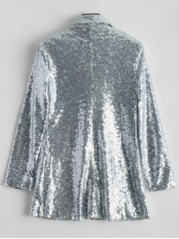 Hot Punk Style Sequined Blazer - M SILVER Mobile