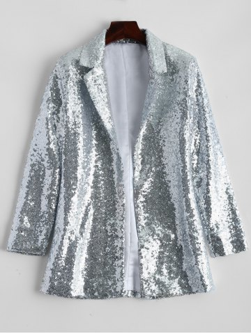 Buy Punk Style Sequined Blazer - M SILVER Mobile