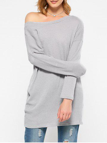 Skew Neck Long Sleeve Sweater - GRAY XL