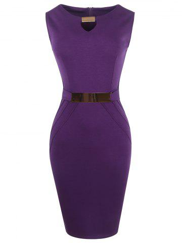 Affordable Metal Ruffled Cut Out Bodycon Sleeveless Dress PURPLE 2XL