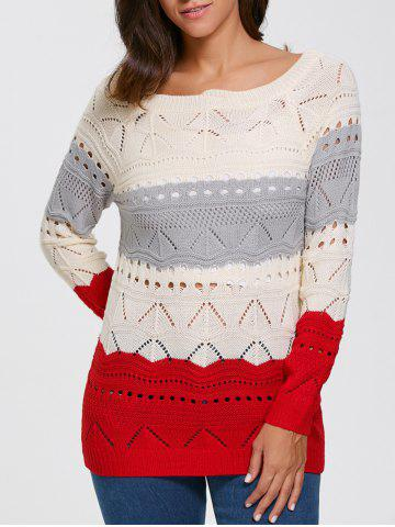 Best Color Block Hollow Out Sweater PALOMINO XL