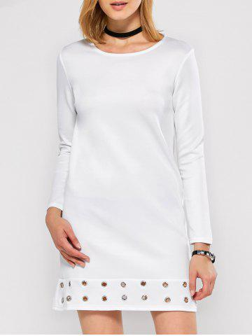Long Sleeve Mini Tunic Jersey Dress - White - S