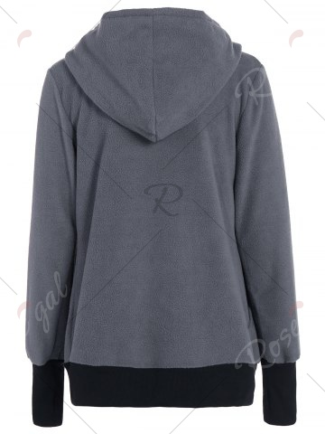 Affordable Inclined Zipper Baby Kangaroo Hoodie - M GRAY Mobile