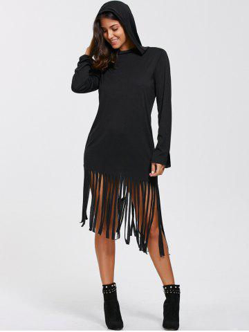 Latest Casual Long Sleeve Hooded T-Shirt Fringed Dress BLACK XL