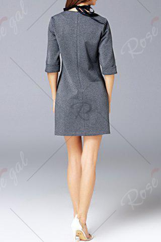 Trendy Round Neck Pocket Dress - L GRAY Mobile