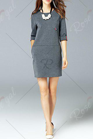 Unique Round Neck Pocket Dress - L GRAY Mobile