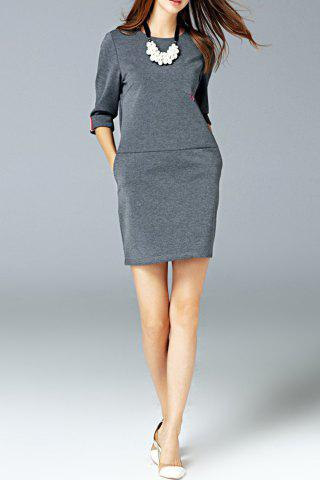 Fancy Round Neck Pocket Dress GRAY L