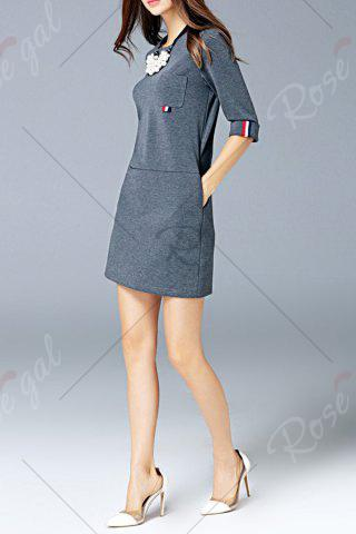 Online Round Neck Pocket Dress - L GRAY Mobile