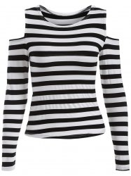 Stripe Cold Shoulder T-Shirt