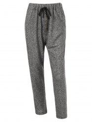 Plus Size Drawstring Double Pocket Pants - GRAY