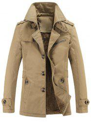 Turn-Down Collar Epaulet Embellished Single-Breasted Fleece Coat - EARTHY
