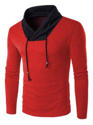 Shawl Collar Drawstring Long Sleeve Color Block Sweater - RED 2XL