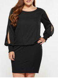Plus Size Slit Sleeve Bodycon Dress - BLACK XL