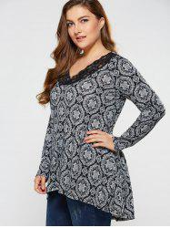 Plus Size Lace Trim Adjustable Sleeve Blouse - WHITE AND BLACK 5XL