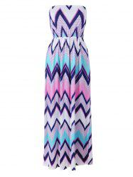 Strapless Zig Zag Beach Maxi Dress
