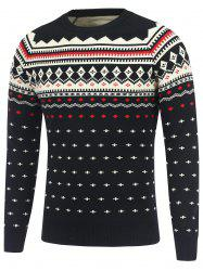 Geometric Pattern Crew Neck Raglan Sleeve Sweater - BLACK