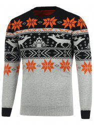 Crew Neck Deerlet Snowflake Christmas Sweater