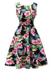 Floral Print Sleeveless Retro Style Dress - BLACK S