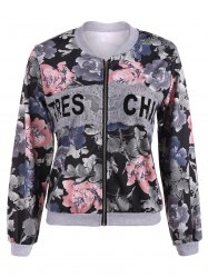Floral Print Lace Insert Spring Jacket