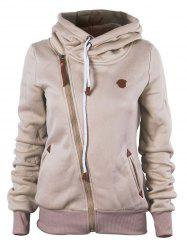 Oblique Zipper Hooded Jacket -