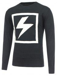 Lightning Pattern Crew Neck Pullover Knitwear - BLACK 2XL